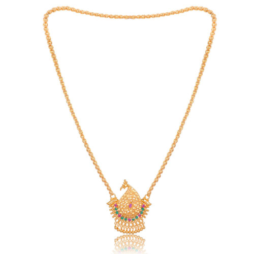 Indian Copper Metal One Gram Gold Plated Handcrafted 22-inch Pendant Necklace