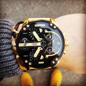 DIESEL-Original-DZ7333-Men-039-s-Mr-Daddy-2-0-Gold-Stainless-Steel-Quartz-Watch
