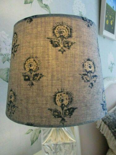 Handmade Taper Drum Lampshade /'KonKani/' Indian Blue floral fabric Guell Lamadrid