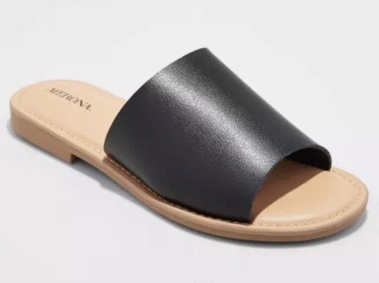 Brand New Slides MERONA Women's Black Mardi Slides New Sandals Flats 528e56