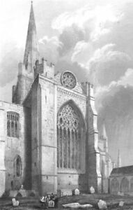 Candide Sussex. Chichester Cathedral, South Transept C1842 Old Antique Print Picture Dans La Douleur