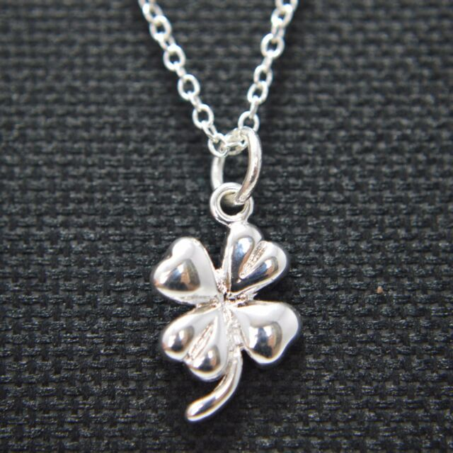LUCKY FOUR LEAF CLOVER Silver clip on dangle lobster clasp for charm bracelet