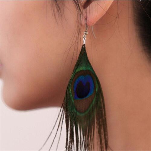 Femmes assorties couleur paon naturel plumes Drop boucles d/'oreilles