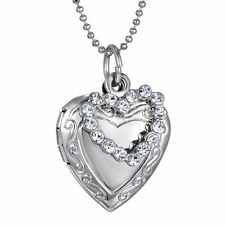 925 Sterling Silver Heart Shape Locket Necklace (Pendant + Chain) #010