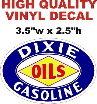 Nice /& Glossy Vintage Style Dixie Gasoline Oil Decal Gas Pump Decal The Best!