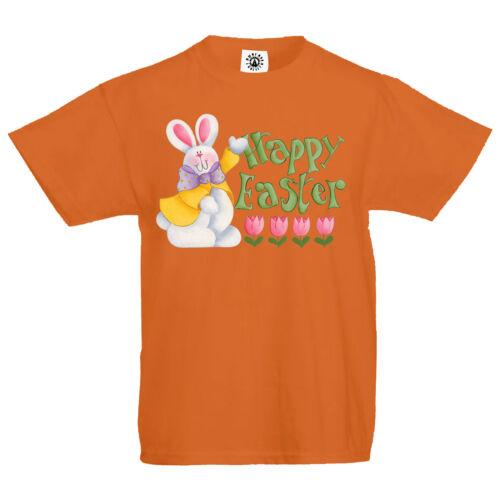 "Kids /""Happy Easter/"" eggs hunt bunny chocolat lent celebration T Shirt"