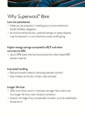 SuperWool Plus 1//2x18x24 Ceramic Fiber Blanket ALTERNATIVE Thermal Ceramic 2192F