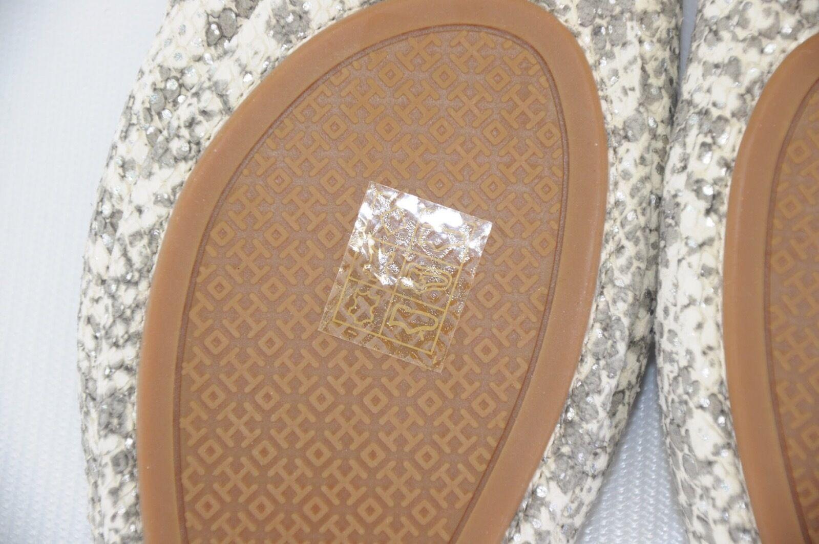 NEWTORY BURCH Travel Leder T Ballet Flats Snake Embossed Sparkling Leder Travel Roccia 7.5 2197a4
