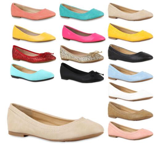 Bequeme Damen Ballerinas Slipper 70944 Flats Leder-Optik Schuhe Gr 36-41 Mode
