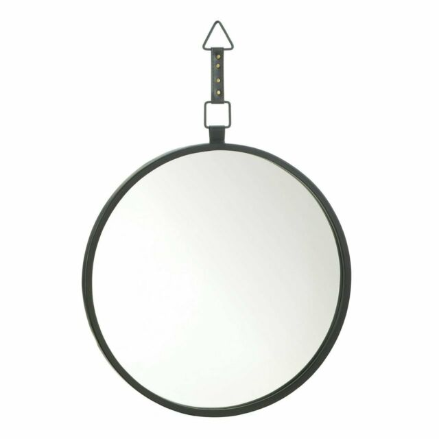 Hill Interiors Copper Rimmed Round Hanging Wall Mirror With Black Strap Hi2829 For Sale Online Ebay