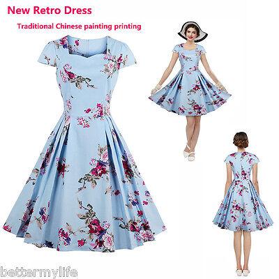 donna nuovo vintage floreale vestito da taglio quadrato COLLO plissè elegante
