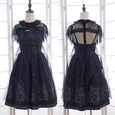 Japanese Harajuku Vintage 2 Pcs Falbala Gothic Lolita Lace Chiffon Dress