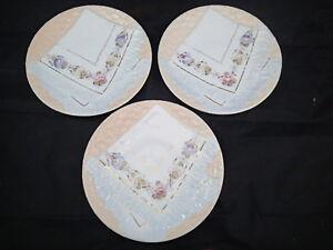 3-Decorative-Vintage-Majolica-Napkin-Plate-Peach-with-Floral-Designs-8-1-4-034-034