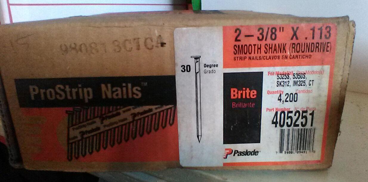 2,590 PASLODE 405251 NAIL GUN NAILS  2 3 8  X .113 BRITE SMOOTH SHANK ROUNDRIVE