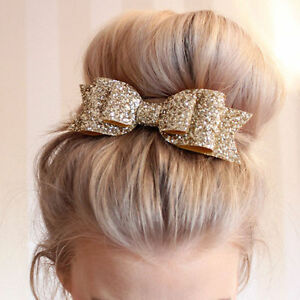 Women-Girls-Glitter-Gold-Bowknot-Barrette-Spring-Clip-Hair-Accessories-Xmas-Gift