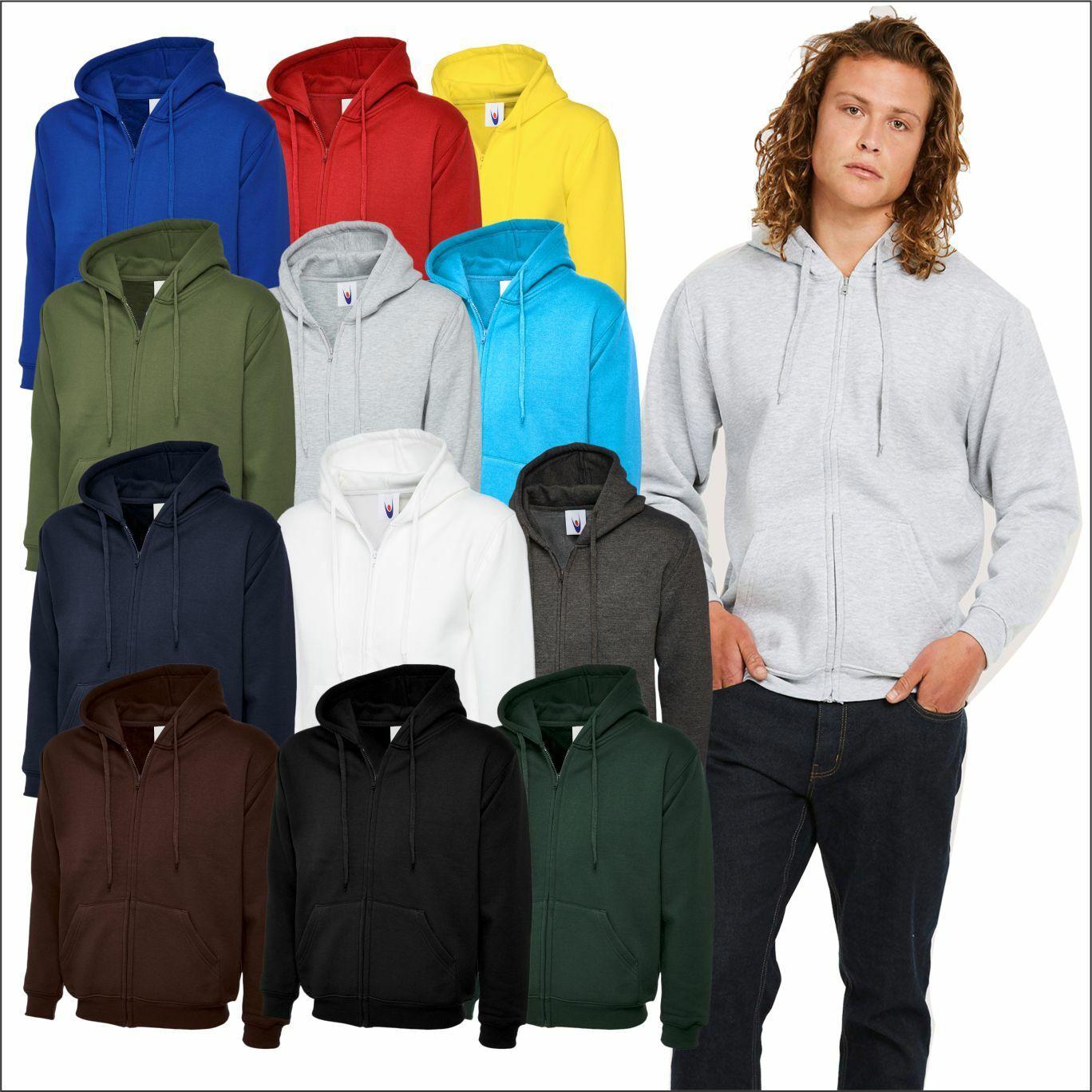Adults Classic Full Zip Hooded Sweatshirt Unisex Workwear Pullover Zipped Jumper