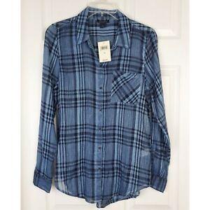 Lucky-brand-Semisheer-Longsleeve-Button-Down-Shirt-Blouse-Size-S