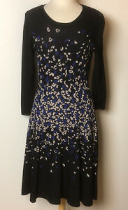 MUSE Women's Long Sleeved Black Dress Blue and White Spotted Design Size L NWT