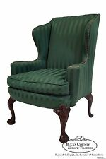 Antique 1920s Mahogany Chippendale Ball & Clawfoot Wing Chair