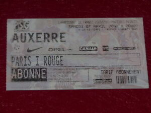 COLLECTION-SPORT-FOOTBALL-TICKET-PSG-AUXERRE-7-AVRIL-2001-Champ-France