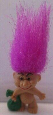 "Accurato Figurine Collection Trolls Vintage Pendentif Porte Cle "" Violet Sac Vert Rinfresco"