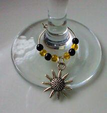 Sunflower Wine Glass Charms x 6 + Free Gift Bag