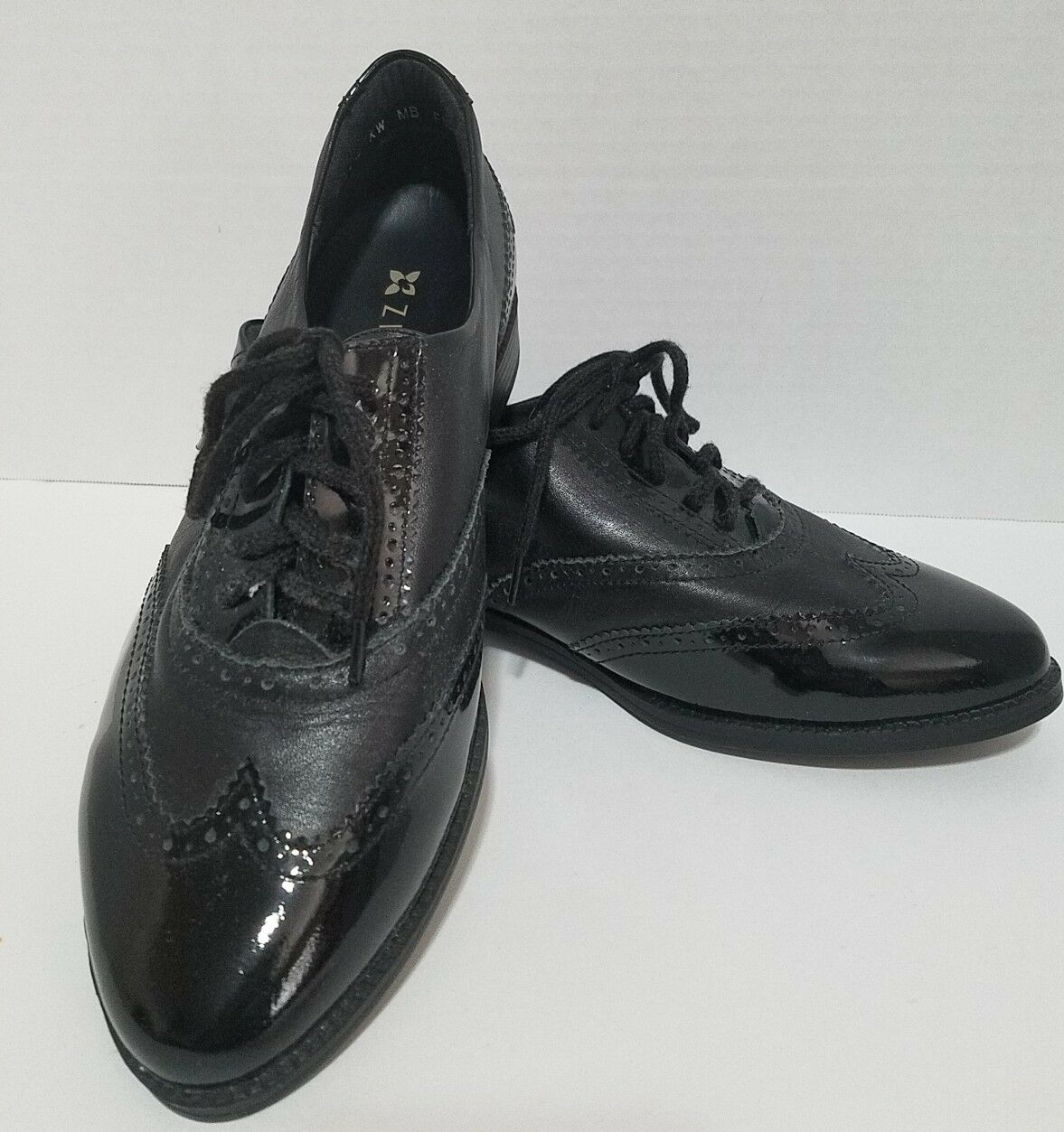 Ziera Womens Flat Oxford Black Patent Leather Orthotics shoes 37.5  OR 7 Brogues