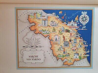 Marche Cartina.50 Vecchia Cartina Marche San Marino Fano Jesi Urbino Osimo Ancona Ascoli Ebay