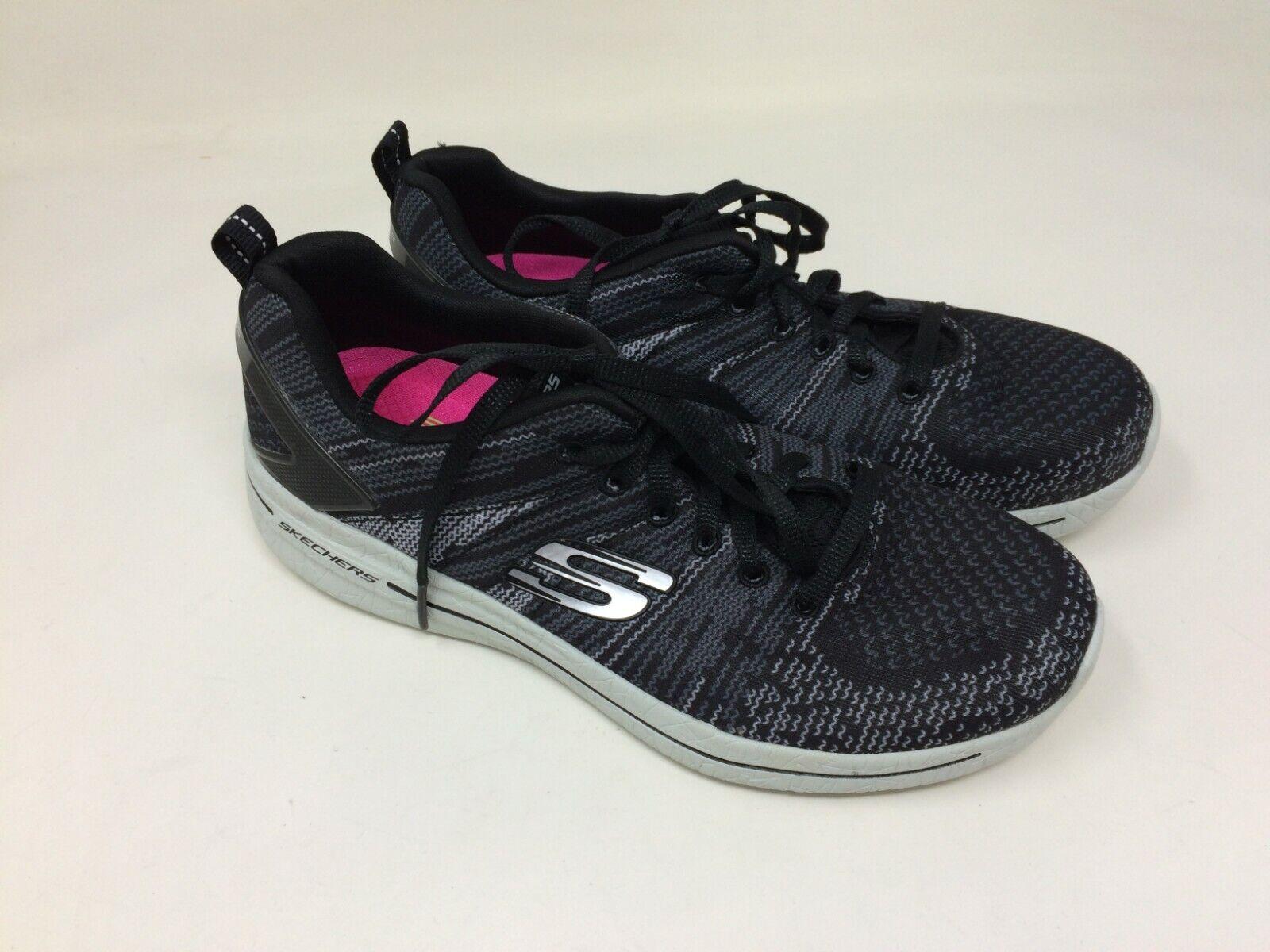 NEW   Women's Skechers 12651 BURST 2.0 Black Grey Sport Sneaker 14N
