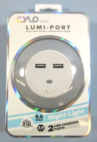 Cylo Night Light USB Wall Charger Sensor Lumi-Port Plug In Fast Charging NEW