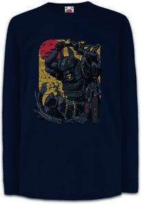 Bat-Samurai-Kinder-Langarm-T-Shirt-Ninja-Bushido-Sword-Man-Fun-Krieger-Helm