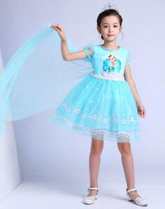 NEW-Girls-Kids-Frozen-Queen-Elsa-Princess-Anna-blue-Pink-Party-Dress-ZG9