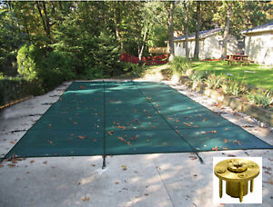 Rectangle Green Mesh Safety Pool Cover W Wood Deck Anchors 12 Year Warranty Ebay