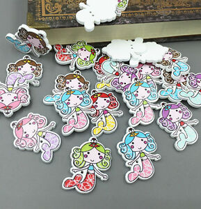 Wooden sewing scrapbooking buttons mermaid 2 holes crafts for Decorative pins for crafts