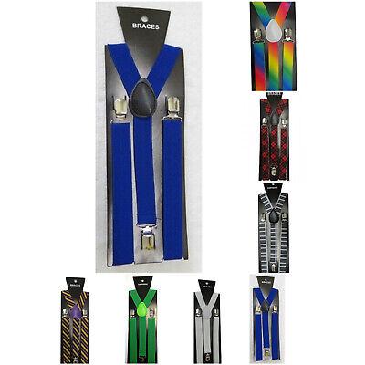 Baby Blue Adjustable Braces Suspenders Mens Womens Fancy Dress Clip On Slim 2.5