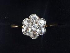 Antique Art Deco 18ct Gold Platinum & White Sapphire Daisy Cluster Ring, Size L