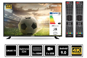 """Elements Fernseher LED Android Smart TV 55"""" Zoll 4K UHD DVB-T2/S2 2x Remote"""