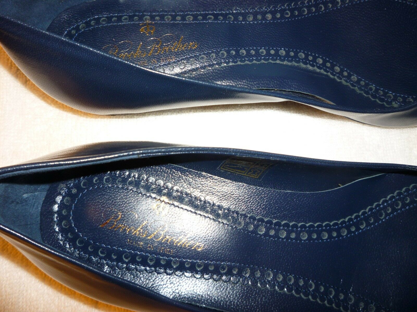 BROOKS BrossoHERS donna donna donna NAVY blu FLATS WITH BRONZE BUCKLE-PRE-OWNED 23420c