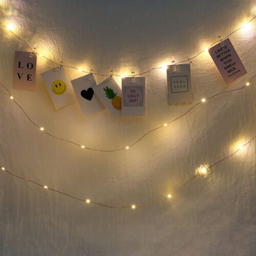 2x Photo String Lights with Clips Perfect Dorm Bedroom Wall Wedding Decor
