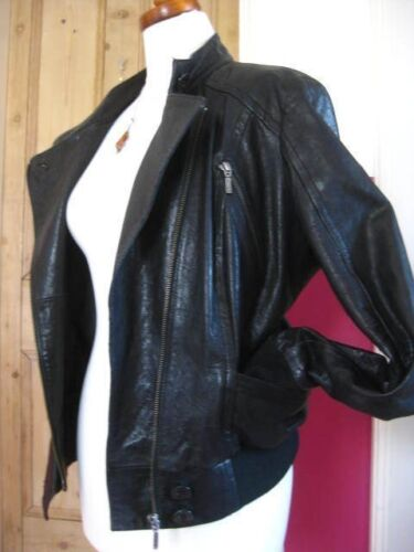 10 Ladies Uk in pelle Limited M s Biker Collection Racer Cafe Giacca nera Bomber zrzaZn