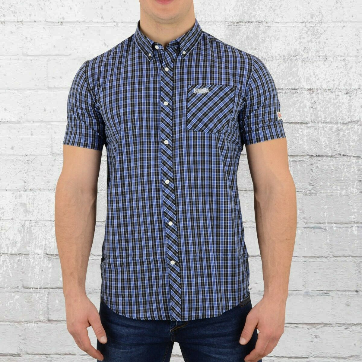 Lonsdale London Button Down Hemd Brixworth blue weiss black Männer Shirt