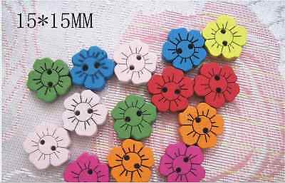 20/50/100pcs Mixed Colored Flower Wood Wooden Button Sewing Scrapbook DIY
