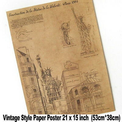 XXL Vintage Wall The Statue of Liberty Blueprints 21x15 inch Paper Poster A1