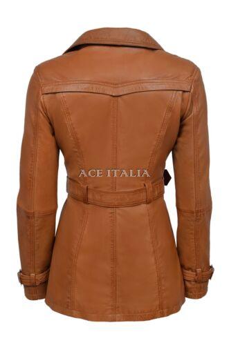 Ladies Tan Classic Trench Coat Mid Length Designer Leather Jacket 1123
