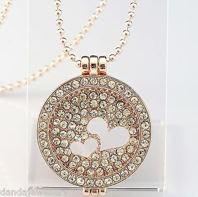 Cut Out Coin Locket Necklace Rose Gold Crystal Double Heart  32mm + Ball Chain
