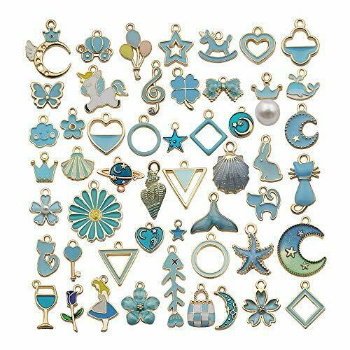 100pcs Assorted Gold Plated Blue Enamel Charm Pendant for DIY Jewelry Making #54