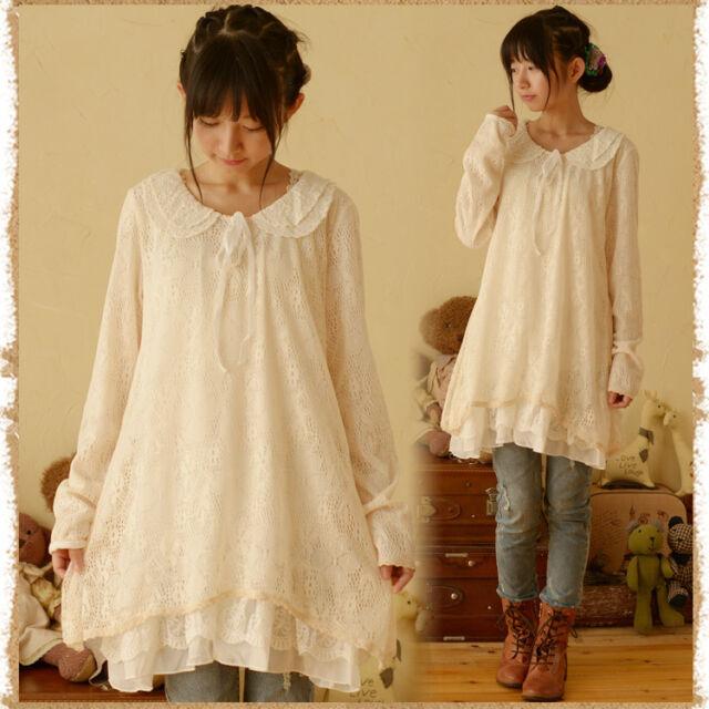 Japanese Sweet Lolita Lace doll collar Loose long Sleeve Dress Mori Girl #W-9S4