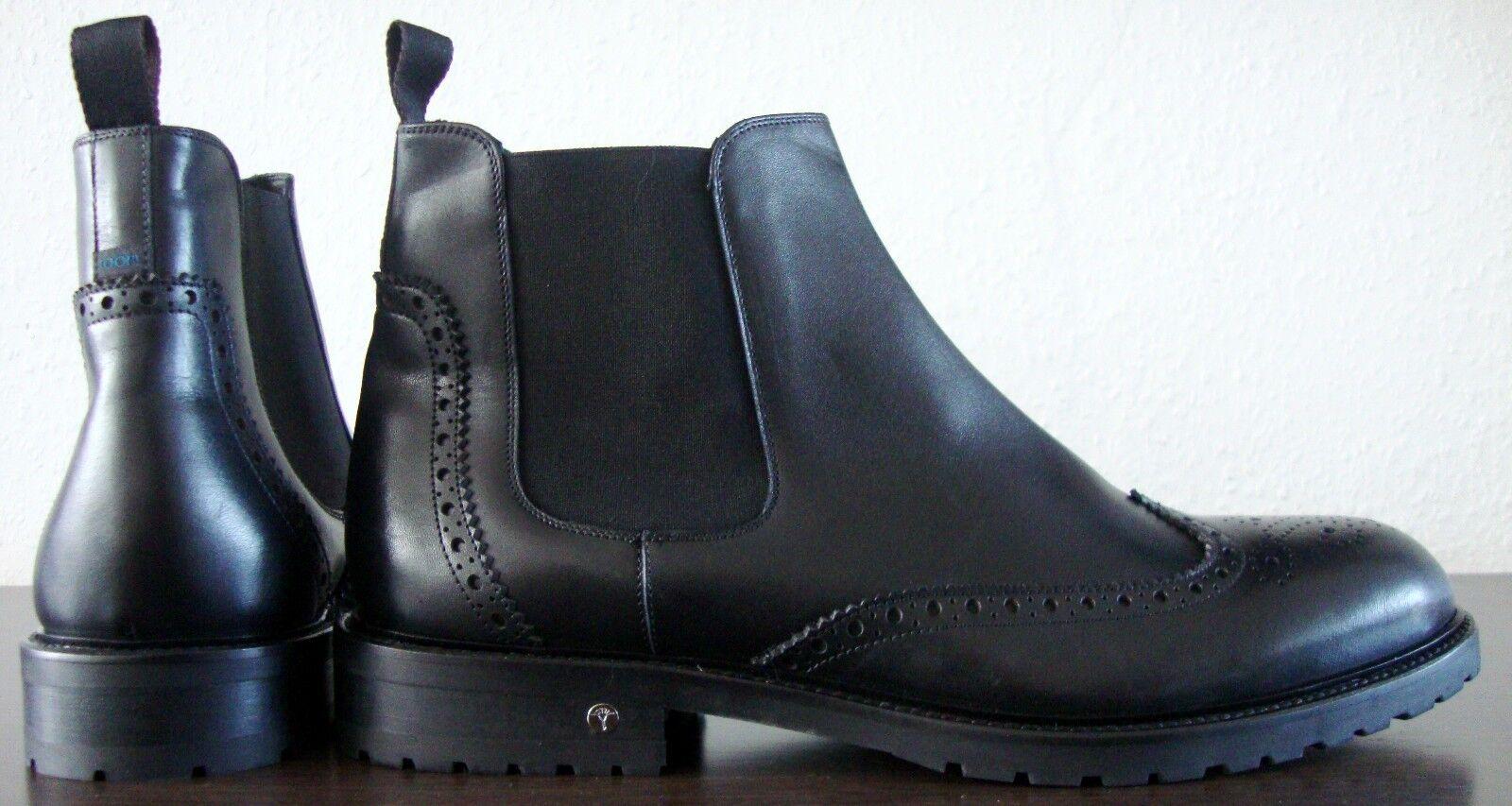 JOOP! GIORGIO Herren Chealse Boots Stiefelette Schuhe Echtleder Schwarz Gr45 NEU