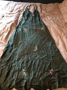 Womens Victoria's Secret Long 100% Silk Green Embellished Nightgown Size S