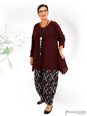 PoCo DeSiGn LAGENLOOK Kurz-Kleid Strick Long Pullover weinrot L-XL-XXL-XXXL